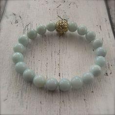 Amazonite Stretch Bracelet Blue Bangle Bracelet Crystal Energy - Intuition via Etsy