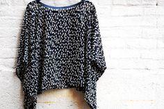 Designer silk tunic  Polka dot blouse  Black silk by LALcouture, $55.00