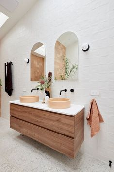 Double timber vanity with apricot basins in a guest ensuite designed by Tanya & Vito on The Block 2021 Bathroom Floor Tiles, Bathroom Layout, Bathroom Interior Design, Guest Bathrooms, Chic Bathrooms, Terrazo Flooring, Wall Clips, Timber Vanity, Huge Shower