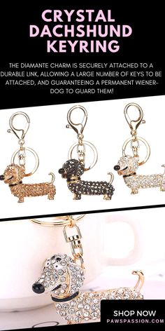 Represent your beloved doxie pup with this beautiful crystal keyring! Available now with free shipping worldwide! Hurry up while stock last! #dachshund #keyring #accessories #doxie #puppy