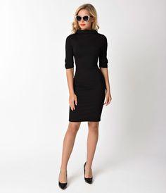 Unique Vintage 1960s Style Black Knit Half Sleeve Cassidy Wiggle Dress