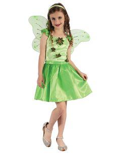 Disfraz de hada verde niña: Este disfraz de hada verde para niña incluye vestido, cinturón, alas y diadema (zapatos no incluidos).La parte superior es verde con efecto terciopelo y flores satinadas.El bajo...