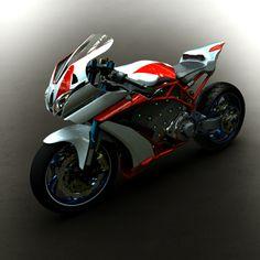 """E-R7 par greg """"Model de moto électrique super sportive avec un moteur 72v et 14 bateries en métal polymère"""" CAO, CAD, 3D, Design, Lynkoa"""