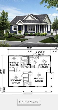 894 sq/ft Craftsman Home - House Plans, Home Plan Designs, Floor Plans and Blueprints Small House Floor Plans, Sims House Plans, New House Plans, Dream House Plans, Small House Plans Under 1000 Sq Ft, 2 Bedroom House Plans, Two Bedroom Tiny House, Garage Bedroom, Basement Bedrooms