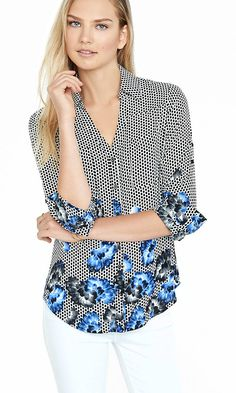 Original Fit Mesh Lotus Print Portofino Shirt | Express