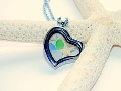 Sea Glass Beach Glass Heart Locket  Perfect Mother's Day Gift!