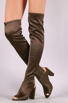 Qupid Satin Peep Toe Chunky Heeled Over-The-Knee Boots