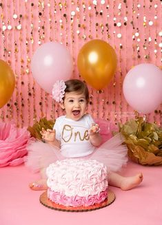 Pink and Gold First Birthday Outfit Girl, Cake Smash Outfit Girl, First Birthday Tutu, Baby Tutu Dress, Birthday Girl Tutu Baby Romper #etsyseller #firstbirthday #cakesmash #pinkandgold #tutu