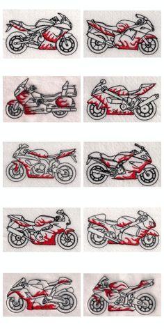 Flame Super Bikes Embroidery Machine Design Details