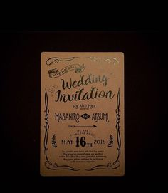 wedding invitation * クラフト紙の招待状。 ボヘミアンをイメージして。