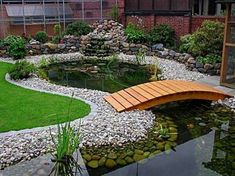 Home ponds can transform any outdoor living space into a serene paradise, creating a place to unwind, relax and enjoy time with family and friends, right in your own backyard. With some basic backyard…MoreMore  #WaterGarden Garden Bridge, Outdoor Structures, Diy, Outdoor Fountains, Fuentes De Agua, Build Your Own, Bricolage, Do It Yourself, Diys