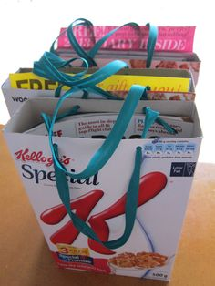 homegrown gift bags made from old cereal boxes