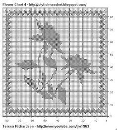 Free Filet Crochet Charts and Patterns: Filet Crochet Flower - Chart 4