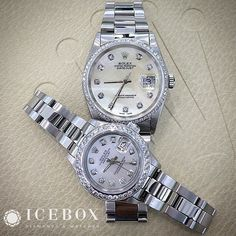 His & Hers  Beautiful ♛ Rolex 36mm DateJust & 26mm Rolex Ladies DateJust Watches featuring Beautiful Mother of Pearl Diamond Dials & Custom Icebox Diamond Bezels.