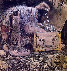 Troll by John Bauer, Swedish Folk Tales Troll, John Bauer, Forest Creatures, Fairytale Art, All Nature, Children's Book Illustration, Faeries, Golden Age, Illustrators