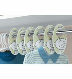 Keep your growing baby's clothing neatly organized with these adorable Baby Closet Dividers.  Bright and playful the six clothing dividers will add a unique style to your child's closet and help make the transition to the next size up quick and simple. The closet organizers are clearly labeled so you can separate your