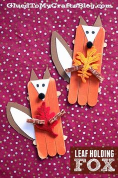 Craft Stick Leaf Holding Fox - Kid Craft A great FALL themed art project for kids to recreate today! Craft Stick Leaf Holding Fox - Kid Craft A great FALL themed art project for kids to recreate today! Crafts For Teens To Make, Animal Crafts For Kids, Crafts For Kids To Make, Kids Crafts, Diy And Crafts, Autumn Crafts Kids, Easy Crafts, Fox Crafts, Craft Stick Crafts