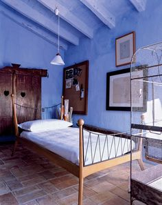 A guest room at Can Novas, Peretti's farmhouse, outside the village of Sant Martí Vell.