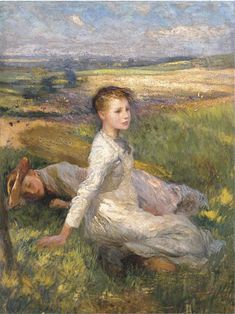 "Sir George Clausen, ""Summer in the Fields"". http://www.gatorindo.com/2012/05/clausens-country-girls.html"