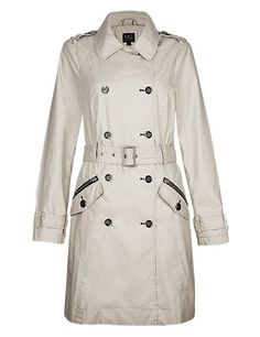 Stone Pure Cotton Water Resistant Belted Waxed Trench Coat Clothing, £79.00