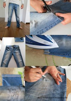 DIY recycle your men's jeans in a summer short!