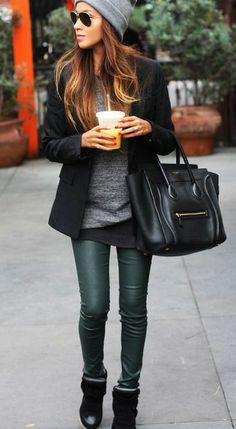 winter fashion #greenleatherleggings #omg