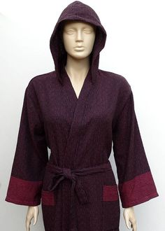 Women's burgundy and black colour Turkish cotton hooded
