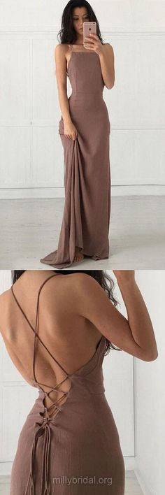 Sexy Girls Prom Dresses,Sheath/Column Long Formal Dresses, Square Neckline Chiffon Evening Dresses,Floor-length Ruffles Backless Party Gowns