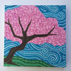 Cherry Blossoms, Cherry Blossom Tree Dot Painting, Hand Painted Original Art, Nature Painting