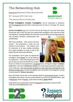 22nd January - book with #Basepoint Business Hub to hear Private Investigator Answers Investigation talk at #Bournemouth Hub 01202 331700:  http://www.answers.uk.com/newsfull/basepointbmth150122.htm T:01202 366156