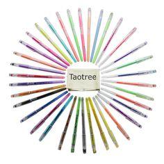 Taotree Premium 36 Stück Gelschreiber Gelstifte Farbstift Set mit Plastikbehälter, ideal für die Scrapbooks, Party lädt ein, Grußkarten , Zeichnung, Färbung, Schreiben, von 0,8 bis 1,0 mm Fine Point (Set von 36 Stifte, einschließlich Glitter, Neon & Pastell)