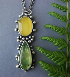 Leaves of Spring - Prehnite and Chalcedony Sterling Silver Necklace by Mercury Orchid on Etsy