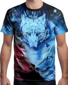 9d68595d0be9 3D galaxy wolf t shirt for men short sleeve tee xxxl Galaxy Wolf