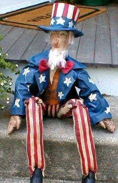 PRIMITIVE FOLK ART UNCLE SAM DOLL