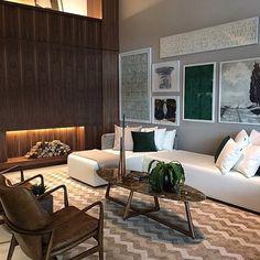 Referência do dia! Living com painel de madeira para aquecer o ambiente!! #inspire_me_home_decor ...