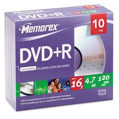 DISC,DVD+R 4.7GB 10PK,SR by TDK. $11.99. DVD+R Discs, 4.7GB, 16x, w/Slim Jewel Cases, Silver, 10/Pack