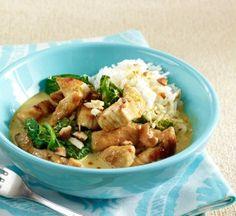 Putencurry mit Spinat und Cashewkernen Rezept