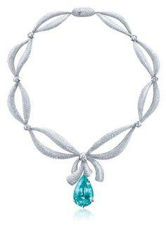 Paraiba Tourmaline Diamond Bow Necklace - Lorenzo USA Inc. - Product Search - JCK Marketplace