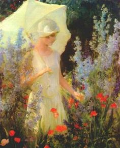 Blue Delphiniums Artwork by Charles Courtney Curran
