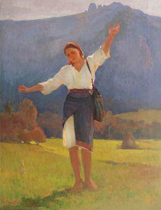Honoriu Creţulescu, Ţărăncuţă din Muscel ulei pe pânză, 102 × 79 cm, semnat și datat stânga jos, cu oranj, H. I. Crețulescu,1948