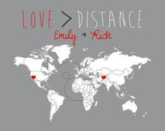 Love is Greater Than Distance - Long Distance Relationship Gift -  Custom Map Art Print, Deployment, Military, Far Away, Missing You