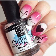 Pink heartbeat Ombre nail art design. A chic and cool looking Ombre design in pink and white combination with heartbeat details drawn in dark brown polish.