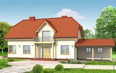 Projekt Krzysztof to dom jednorodzinny dla rodziny 4-5 osobowej. Projekt przeznaczony jest na wąską działkę, o szerokości nawet 15 m. Ozdobny fronton z balkonem i wciętym przedsionkiem oraz dach naczółkowy tworzą miłą dla oka sylwetkę domu. Dobudowane garaże w zależności od ustawienia na działce mogą mieć drzwi na stronę frontową lub na boczną.