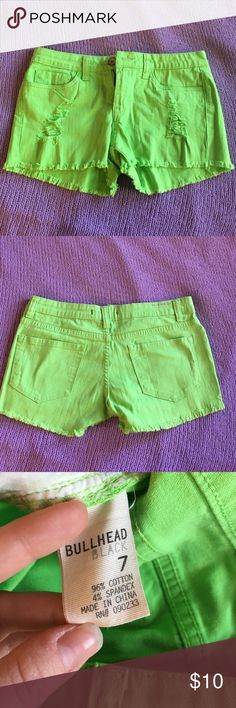 Bullhead Black shorts Lime green, never been worn short shorts. Rips in them were bought that way. Pockets are good and zipper works great! Took off the tags and forgot about them. Really cute with small bits of fray on the bottoms Bullhead Shorts