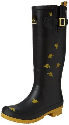 Joules Womens Black Bees Wellington Boots | Boots------ Rubber------ rubber sole------ Genuine Product------ Cute Boots for casual wear during Summer/Spring 2016-------