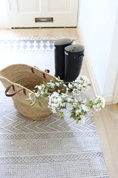 blossom basket hunterboots boots rug house doctor irishhome by Kasia Pohl