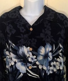 Tropical Floral Print XL Hawaiian Camp Shirt Blue Hibiscus Bullhead Aloha GUC #Bullhead #Hawaiian