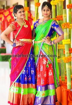 Colorful Ikkat Half Sarees - Saree Blouse Patterns