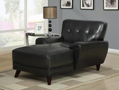 Bonded Leather/Match Chaise Lounger In Black - Homeclick Community