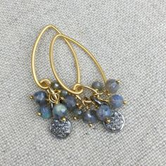 Diamond Pavé and Blue Labradorite Earrings, Drops of Diamond Pavé Discs with Oxidized Silver & Labradorite on Gold Ear Wires, Style E1034 by AUREATA on Etsy